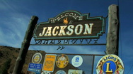 Stock Video Footage of Welcome to Jackson Wyoming Sign Zoom In