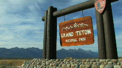 Grand Teton National Park Sign Stock Footage