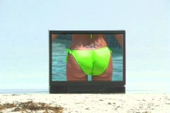 Sexy Redhead in a Pool on Television (3) Stock Footage