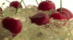 Cherries on white background Stock Footage
