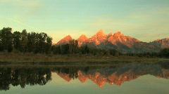Grand Tetons Sunrise Reflection Pond Pan Stock Footage