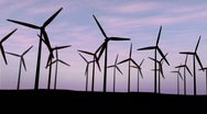 Turbines at dawn Stock Footage