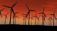 Turbines at sunset Stock Footage