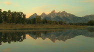 Grand Tetons with Reflection Pond Zoom In Stock Footage
