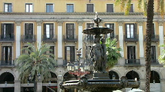 Fountain at Placa Reial  Barcelona - 2 Stock Footage