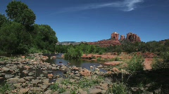 Rocky River Bed with Cathedral Rock in Sedona Background Stock Footage