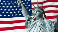 Stock Video Footage of Statue of Liberty with US flag