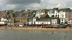 Holidaymakers on the beach at Scarborough North Yorkshire Stock Footage
