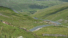 Road through the dales in Swaledale North Yorkshire Stock Footage