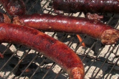 Close up of juicy sausage on a flaming charcoal grill Stock Footage