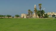 Caesarea old harbor pan 1 Stock Footage