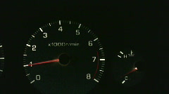 Vid009 car dash lights rpm gage Stock Footage