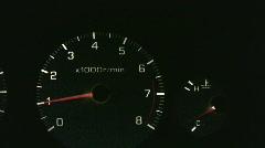 vid009 car dash lights rpm gage - stock footage