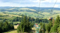 Chair lift in Carpathians Stock Footage