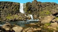 Pingvellir Waterfall Stock Footage