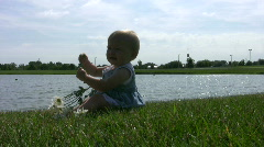 Vid014 baby playing with flower at park Stock Footage