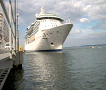 Cruise Ship pulls out of dock Time Lapse Stock Footage