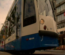 Tram departs Rembrandt Square Amsterdam Stock Footage