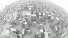 Camera flight through 3D city Stock Footage