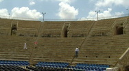 Caesarea theatre pan 1 Stock Footage