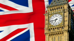 Big Ben in front of British flag Stock Footage