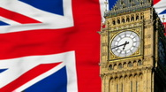 Stock Video Footage of Big Ben in front of British flag