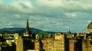 Stock Video Footage of Pan over Edinburgh rooftops tilt-shift