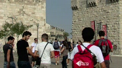 Jaffa Gate into Jerusalem Stock Footage