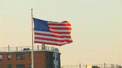 Flag in NYC Zoom Out Stock Footage
