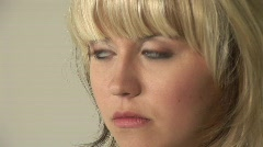 HD1080i Young blond attractive woman unhappy. Stock Footage