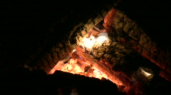 Hot coals in campfire Stock Footage