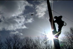 Utility Worker Climbs Pole 078 Stock Footage