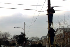 Utility Workers on Pole 081 - stock footage