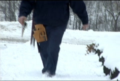 Utility Worker in Snow 092 Stock Footage