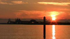 Sunset Over Bridge CU Stock Footage