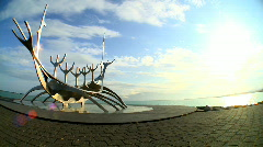 Icelandic Viking Sculpture Stock Footage