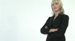 Close-up of a pretty girl with her arms folded - stock footage