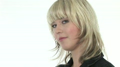 HD1080i Young blond business woman. Cran shot. Stock Footage