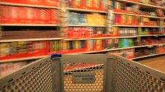 Shopping Cart in the Grocery Store - stock footage