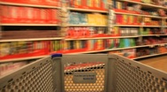 Shopping Cart in the Grocery Store Stock Footage