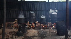 Rwanda, Militia Camp, Barrels, Steam, Smoke, Fire Stock Footage
