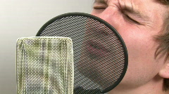 Singing into Microphone Stock Footage
