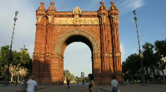 Arc De Triomph Barcelona Stock Footage