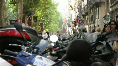 Motor Bikes parked in European city Stock Footage