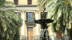 Fountain at Placa Reial Barcelona Stock Footage