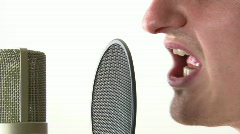 Side View of Mic and Mouth Stock Footage