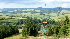 Cable road in Carpathians Stock Footage