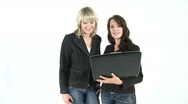 Two girls with notebook Stock Footage