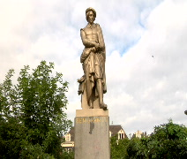 Rembrant statue Real Time Stock Footage