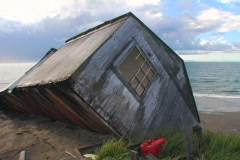Collapsed beach house 01 Stock Footage